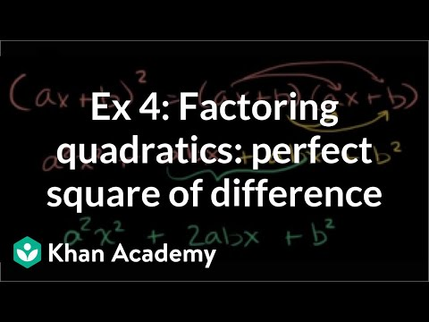 Factoring Perfect Squares Video Khan Academy
