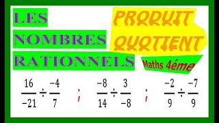 Maths 4ème - Les nombres rationnels Produit et Quotient Exercice 14