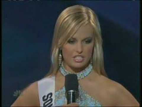 this - Miss Teen USA 2007 - Ms. South Carolina answers a question.