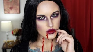 """Hi loves! Today I bring you another Halloween tutorial AND it's one that is easy to achieve, great for last minute! So if you're still unsure of what you want to be this year then this one's for you. It's a little glam, a little creepy, and a lot of sexy! Please enjoy! Don't forget to """"like"""" and subscribe. xoxoStay connected:Instagram: @srosebeautyhttp://twitter.com/srosebeauty_Snapchat: savannahrose334Business Inquiries:contactsavannahrose@gmail.comShop unique and handmade flower crowns, accessories, and more:Dollfacedcreations.etsy.comCoupon codes:$10 off PAULA'S CHOICE SKINCARE & MAKEUP:http://goo.gl/T0syzjProducts used:Makeup Geek Corrupt EyeshadowUrban Decay Electric PaletteMAC Blacktrack Ardell Glamour WispiesNYX Bare My Soul Matte EyeshadowNYX Gold Glitter LinerNYX Prune Lip LinerWet n Wild Sugar Plum Fairy LipstickRuby Kisses Ruby Lip Lacquer Fake Blood"""