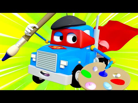 The artist truck  - Carl the Super Truck - Car City ! Cars and Trucks Cartoon for kids