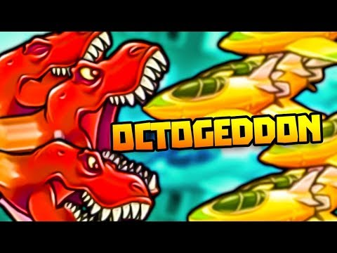 TRIPLE T-REX GIANT DINO HEAD IN HARD MODE! - Octogeddon Gameplay