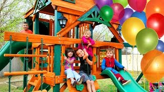 Surprise Kinder Playtime Playhouse Fun Kids Play on Swings Lots of Slides Friend Party Swingset  Today on Kinder Playtime we are introducing the NEW Kinder Playtime Playhouse!  The kids had no idea that we were building it!  We can't believe it, but this is our 500th video and thought this would be a great way to celebrate!  What a celebration!  They were so excited to see it!  We invited lots of our Fun Kid friends to share in on the excitement.  This Playhouse lots of swings, slides, and more!  We cannot wait to share it with you!About the Kinder Playtime PlayhouseIt is the Gorilla Malibu Deluxe IIWatch their eyes brighten with delight as they slide down any of the THREE slides on the Malibu Deluxe II™! This attractive set has a unique roof line and solar light accents that allows playtime to continue, even after the sun has set. This set is sure to bring excitement to the backyard with an assortment of accessories for your kids to choose from. Let the fun begin, order yours today!We love our new Kinder Playtime Playhouse and look forward to making more fun videos outside there!More Kinder Playtime Surprise Toy Openings!HUGE Elena of Avalor Surprise Present Blind Bags Disney Princess Toys for Girls Kinder Playtimehttps://www.youtube.com/watch?v=zdk0LcYagRIHUGE Shopkins Surprise Present Season 7 Surprise Eggs Blind Bags Toys for Girls Kinder Playtimehttps://www.youtube.com/watch?v=r5VlShZf85gHUGE Disney Princess Surprise Present Blind Bags My Little Pony Toys for Girls Kinder Playtimehttps://www.youtube.com/watch?v=HzUnGE-9IRkHUGE Peppa Pig Surprise Present Blind Bags My Little Pony Toys for Girls Kinder Playtimehttps://www.youtube.com/watch?v=hP_MAGJT0qgHUGE Elsa Frozen Surprise Present from Santa Claus Christmas Girl Toys Blind Bags Kinder Playtimehttps://www.youtube.com/watch?v=0YLB6YmQSl4HUGE Christmas Stocking Surprise Toys Shimmer and Shine My Little Pony Girls Toys Kinder Playtimehttps://www.youtube.com/watch?v=5VyhTJPAbPsHUGE Surprise Penguin Slide Surprise Eggs Toys for Girls Trolls My Little Pony Kinder Playtimehttps://www.youtube.com/watch?v=-_gzl6LeWlQHUGE Frozen Surprise Bucket Disney Princess Surprise Toys for Girls Hatchimals Kinder Playtimehttps://www.youtube.com/watch?v=I7U6RRUdD0sHUGE Trolls Movie Surprise Car Toy Surprise Eggs Girl Toys Slime Baff Dreamworks Kinder Playtimehttps://www.youtube.com/watch?v=DCwWMPH9daoHUGE Shimmer and Shine Magic Surprise Toy Chest My Little Pony Shopkins Frozen Kinder Playtimehttps://www.youtube.com/watch?v=YoSO3TJ-4AEHUGE FINDING DORY SURPRISE POOL Toy Surprise Eggs Disney Toys Boy Toys Girl Toys Kinder Playtimehttps://www.youtube.com/watch?v=dJV9lkevzgoHuge Mashems & Fashems Surprise Toy Finding Dory Ninja Turtles Batman Paw Patrol MLP Kinder Playtimehttps://www.youtube.com/watch?v=I3nj3BCvjxoHUGE Finding Dory Surprise Box & Toy Bag Elmo Toys Shopkins Blind Bags Disney Toys Kinder Playtimehttps://www.youtube.com/watch?v=W0g7IPl3nHoFrozen Surprise Wagon My Little Pony Shopkins Funko Mystery Blind Bags Disney Toys Kinder Playtimehttps://www.youtube.com/watch?v=q-XhzJxKw2gHUGE Pink Girl Surprise Egg Surprise Toys Bunny Surprise Toy Shopkins My Little Pony Kinder Playtimehttps://www.youtube.com/watch?v=Gq67sl876LEHUGE Neon Star Surprise Toys Suitcase Shopkins Barbie Disney Unicorno Fun Girls Toys Kinder Playtimehttps://www.youtube.com/watch?v=kghBHl6M9toHUGE Frozen Backpack Surprise Toys Disney Princess Elsa Anna Fashems My Little Pony Kinder Playtimehttps://www.youtube.com/watch?v=eLU294A23Cw