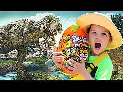 CALEB PRETEND PLAY DINOSAUR HUNT! ! Searching For Dino Bones and  Dinosaur Eggs with Mom!!