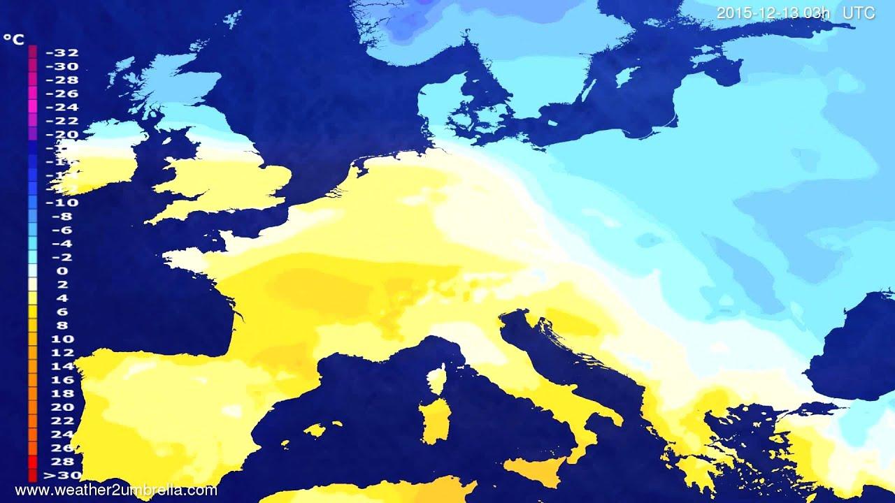 Temperature forecast Europe 2015-12-10