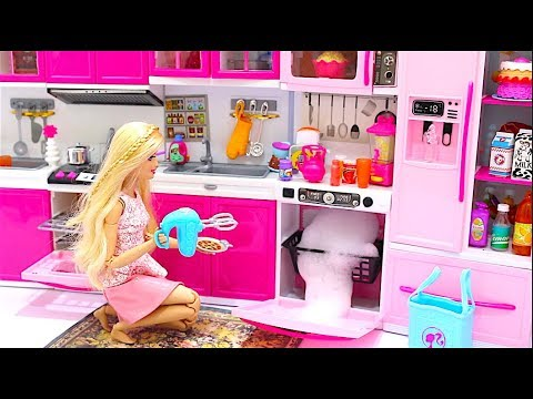 Barbie Doll Kitchen Set Up Real Cooking Refrigerator Toyمطبخ باربيBarbie Cozinha Geladeira