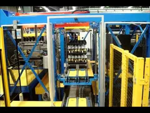 High speed palletiser for PET bottles onto pallet trays