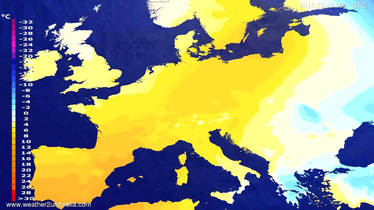 Temperature forecast Europe 2015-12-15