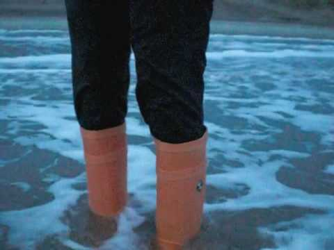 Very wet feet in the waves