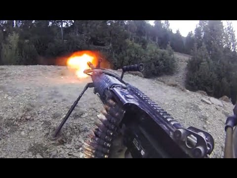 FUNKER530 - A MK-48 gunner is engaged in an intense firefight with 10-15 insurgents 50-100 meters away in Afghanistan. . An A-10 is called in to engage with it's 30mm ca...
