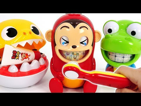 CocoMong! Baby Shark! Tooth Brush Play set! Defeat Sugar Bugs! #PinkyPopTOY