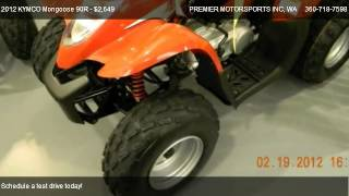 5. 2012 KYMCO Mongoose 90R ATV w/ reverse - for sale in VANCOUVER, WA 98665