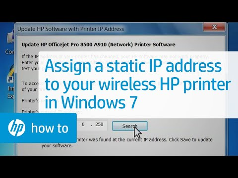 Assigning a Static IP Address to Your Wireless HP Printer - Windows 7