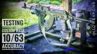 Shooting the Customized Romanian Cugir GP WASR-10/63 AK-47 Rifle, testing accuracy and performance.   From a stock WASR akm rifle in 7.62x39 imported by Century Arms, customized into a tactical battle rifle, upgraded using some of the best aftermarket parts, accessories, and mods.Check out Below for Helpful Links and More Videos!The Century WASR AK variant was chosen for this project due to the availability of aftermarket and factory repair parts, out of box features, such as the chrome-lined barrel and bayonet lug, as well as the battle-proven reputation of being reliable, simple, and easy to maintain.  The WASR series of rifles are also reasonably priced in comparison to most other ak rifles on the market.The factory composite grip was replaced with an ATI Scorpion AK Recoil Absorbing Pistol Grip (https://goo.gl/Bnyjsu).  This grip is easy to come by, budget friendly, and very effective.  It has an over-sized design, has finger grooves, and made from a material which allows a better grip for handling.The dust cover was upgraded to a left-side charging handle, replacement dust cover, made by DTS.  Called the LINCH Cover, it allows the user to charge the weapon from the left or right side of the rifle, is non-reciprocating, and has a spring-loaded, fold-down charging latch...  All of which is integrated into the replacement Polish AK dust cover.  Although not a needed upgrade, its a neat concept which definitely improves versatility.  Due to being a difficult product to source, I would probably use a Railed Dust Cover Replacement, like the AKARS or TWS Dog Leg Rail System (https://goo.gl/vaZXjA) in its place.The factory ak iron sights, both rear leaf and front post, were removed and replaced with Meprolight Tru-Dot Tritium AK-47 Night Sights (https://goo.gl/C8WWFR).  These are an excellent upgrade for any battle rifle, allowing the ability for use of iron sights in low or no light conditions!The muzzle nut protecting the 14x1 LH threaded barrel, was removed and swit