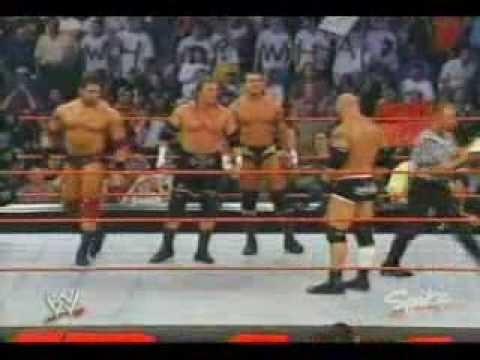 Bill Goldberg vs Triple H Batista and Randy Orton ( The Evolution) 3 on 1 handicap match