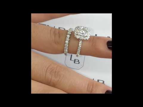 1.8 carat Cushion Cut Diamond Halo Engagement Ring