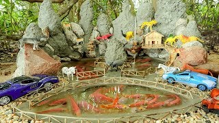 Building Mini Bricklaying Model Red Fish Pond