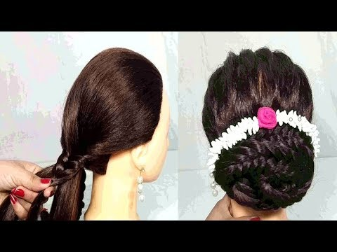 Latest gajra hairstyle for party/wedding  easy hairstyles  Hair Style Girl  hairstyles