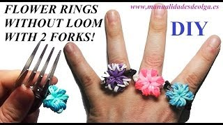 How to make a Flower Ring (EASY) with 2 forks. Without rainbow loom. rubber bands flower ring - YouTube