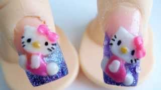 Hello Kitty acrylic nail design 3d purple glitter