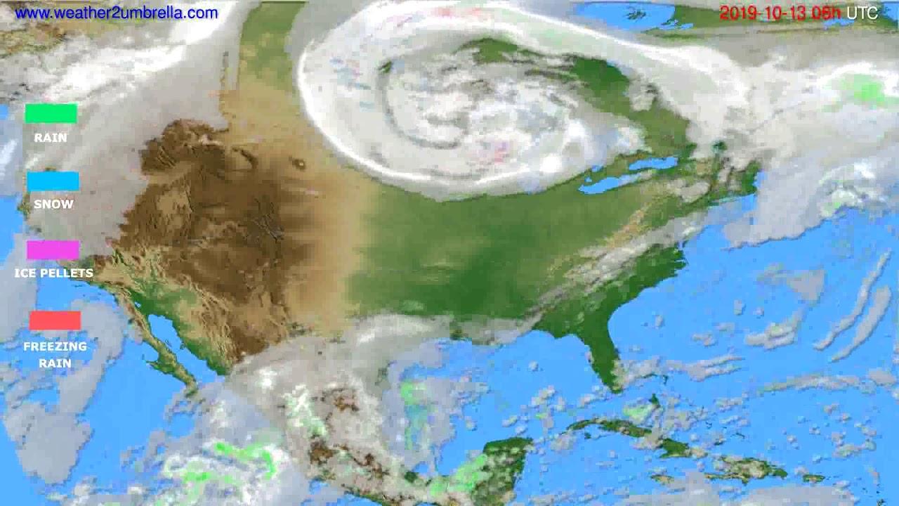 Precipitation forecast USA & Canada // modelrun: 00h UTC 2019-10-11