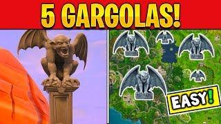 BAILA FRENTE A VARIAS GARGOLAS EN FORTNITE TEMPORADA 6 - 5 Ubicaciones de Gargolas