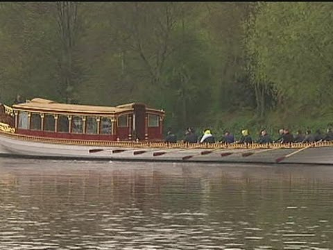 Diamond Jubilee: The Queen's Diamond Jubilee barge launched onto the Thames