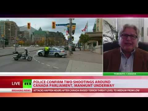 shooting - A manhunt is on for one or more armed assailants after several rounds of gunfire tore through Parliament Hill, as well as National War Memorial in Ottawa, Canada. The city of Ottawa is on lockdown...
