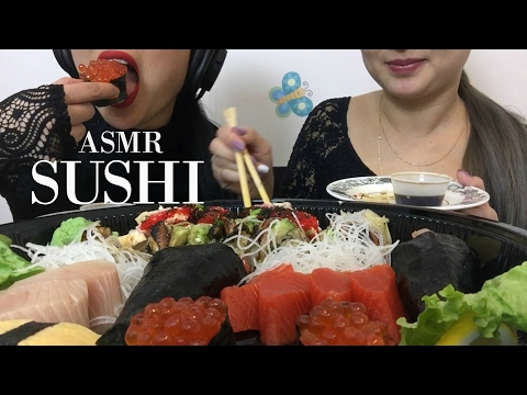 ASMR SUSHI PLATTER (NO TALKING) EATING SOUNDS | SAS-ASMR