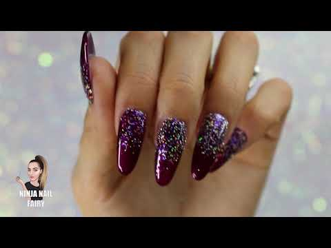 Gel nails - EASY CHRISTMAS PARTY NAIL DESIGN WITH GEL POLISH AND LOOSE GLITTER