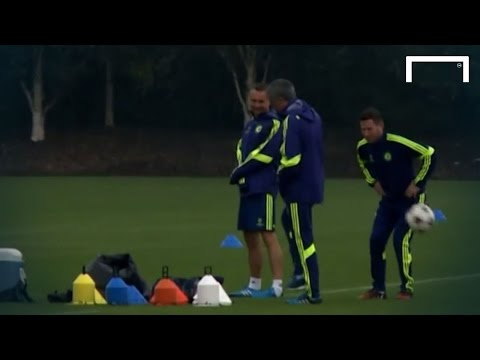 Training - Chelsea manager Jose Mourinho deliberately hit a staff member in the groin with a ball during the Blues' training session ahead of their UEFA Champions League clash against Sporting. Subscribe...