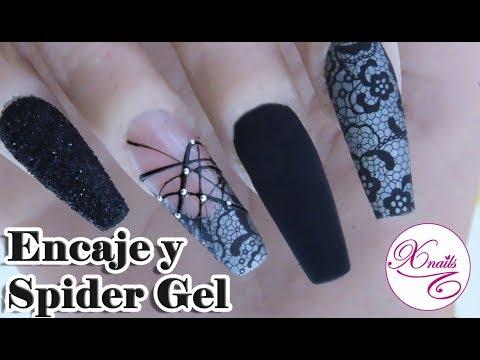 Diseños de uñas - Uñas con Encaje Tatto y Gel Spider / Xnails