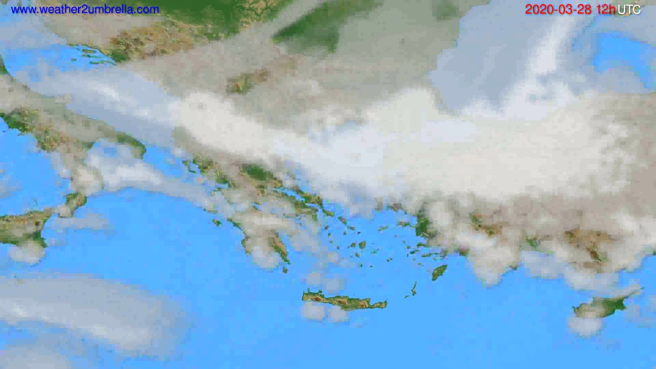 Cloud forecast Greece // modelrun: 12h UTC 2020-03-27