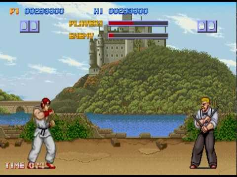 Street Fighter 1 (Arcade) England Stage 2: Ryu Vs. Eagle + Bonus Stage 4