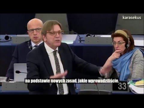 Guy Verhofstadt zaorał Beatę Szydło pokazując całej Europie jej pustosłowie.