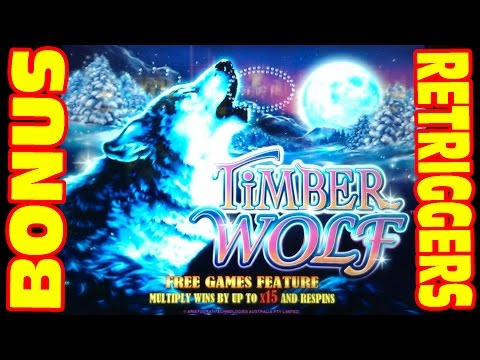 Slot Machine Bonus + Retriggers – Big Win – Timberwolf Deluxe