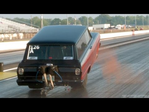 Wheelie bars break on Chevy wagon during this pass
