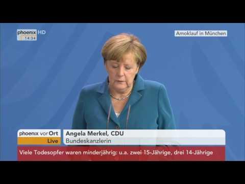 Anschlag in München: Statement von Angela Merkel am 23.07.2016