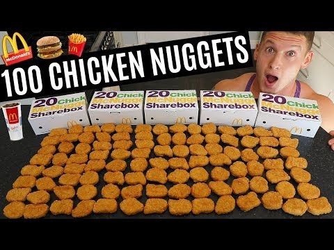 100 CHICKEN NUGGET CHALLENGE  Man vs Food  Epic Cheat Day
