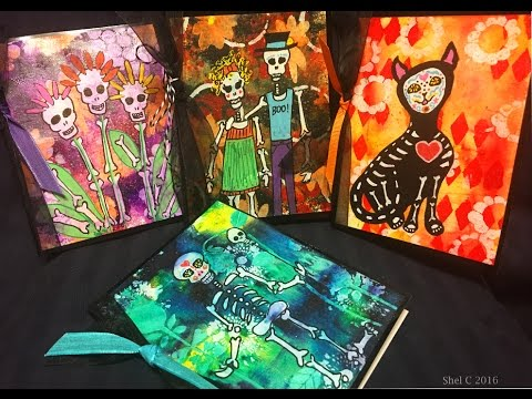 #InternationalArt - Mixed Media Cards - Dia de los Muertos