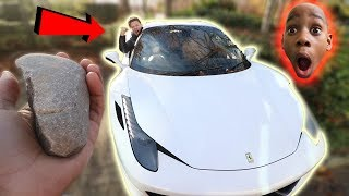 GUY THROWS ROCK AT A FERRARI!! (DARES)