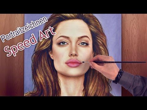 Angelina Jolie Portrait in Öl malen/zeichnen