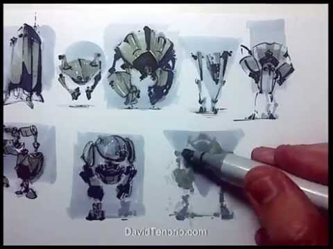 Artist uses copic markers to make a few quick robot designs. 1:06