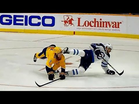 Video: Ellis takes skate to the face but gets lucky, skates off