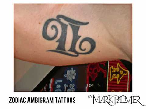 A selection of zodiac sign ambigram tattoos by Mark Palmer.