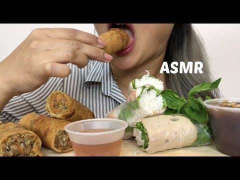 ASMR [CRUNCHY & SOFT Eating Sound] SPRING ROLL & SALAD ROLL