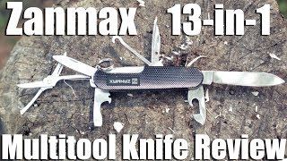 The Zanmax 13 in 1 multitool is like a Swiss Army Knife. It has several blade, scissors, and a thing for opening beer. It's rugged ...