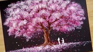 Video Bath Sponge & Q-tips painting technique / How to draw Romantic Couple beside tree MP3, 3GP, MP4, WEBM, AVI, FLV Juli 2019