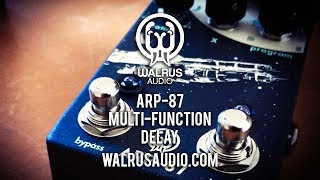 """https://www.walrusaudio.com/collections/delay-reverb/products/arp-87-multi-function-delayThe people at Walrus Audio have done it again. The ARP-87 is a great pedal and will please many delay freaks out there with its selection of settings, modulation and hardware functionality. The Walrus crew sum it up better than I do: """"The ARP-87 is a compact, feature-rich delay, packed with a large pallet of inspirational delay tones. Featuring four main algorithms, digital, analog, lo-fi, and slap back, the ARP-87 can cover some serious ground in the world of echoes. The Digital algorithm boasts pristine, crystal clear repeats great for rhythmic riffs. The Analog setting works well to add warmth and dimension to chords and lines without getting in the way. The Lo-Fi algorithm, with its adjustable frequency range on the repeats, goes from warm, warped, and murky, to strait AM radio. Finally, the Slap setting makes it easy to dial in a great slap back echo perfect for smoking chicken pickin' runs. With other features like our smart bypass switching, and momentary knob ramp, the ARP-87 provides endless creative opportunities that are waiting to be explored.""""Today's tools:Guitar: 2016 Music Man Albert Lee (stock).Amp: 2016 VASE Amplification Tonesetter 18Extra effects: Walrus Audio Iron Horse Distortion V2Cables: Goodwood Audio and ProvidencePower Supply: Voodoo Lab MONDOMic: Shure SM57 (VASE);  Samson Airline77 (me)Camera: Canon 60D (me) and Nikon D5100 (pedal)Soundcard: AVID Mbox Pro 3Computer: Apple iMac 27"""" i7 3.4 GHz 16 GB RAMSoftware: Logic Pro X, Waves L3-16 Limiter (to keep levels in check at output), Apple Final Cut Pro X (video editing and Youtube compression)."""