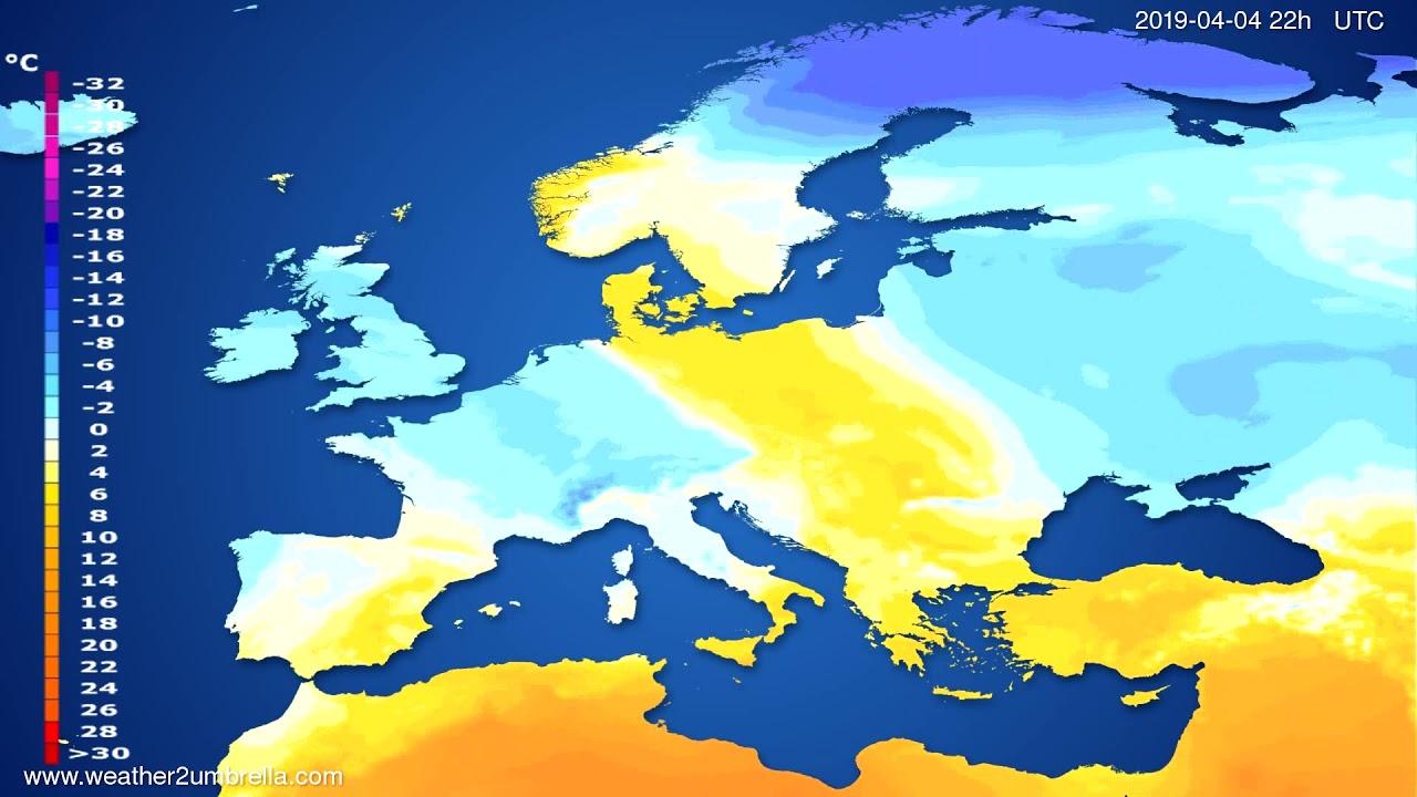 Temperature forecast Europe 2019-04-01